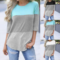 Women's Casual Loose Striped Patchwork 3/4 Sleeve Tee Shirts Summer Tops Blouse
