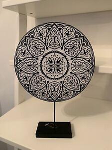 Rustic Wood Black Mandala Tribal Stand Disc Ornament Sculpture  Home Decoration