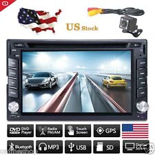 HD GPS Navigation Double 2 DIN Car Stereo DVD Player Bluetooth Radio MP3  Camera