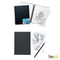 A4 / A5 Artist Sketch Book White Cartridge Paper Black Card Cover Art Pad