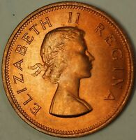 1960 South Africa Half 1/2 Cent BU Queen Elizabeth Red Brown Coin