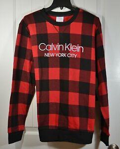 NWT MENS CALVIN KLEIN RED/BLACK CREW NECK LONG SLEEPOVER SHIRT SWEATER S, L, XL