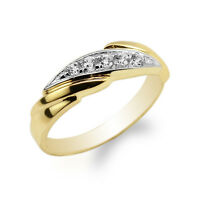 10K/14K Yellow Gold Two Tone Colored Luxury Wedding Band Ladies Ring Size 4-10