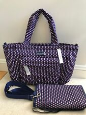 NEW! MARC JACOBS Quilted Nylon Baby Bag/Diaper Bag with Changing Pad Blue Print