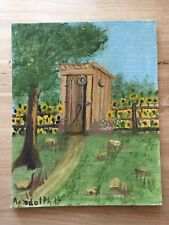 Outhouse Sunflowers Vintage Primitive 70s Signed Oil Panting 8x10 Randolph