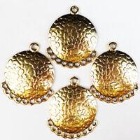 12Pcs Newest Carved Tibetan gold Round Pendant Bead 39x32x2mm dy187pj