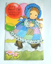 HOLLY HOBBIE PAPER DOLL GREETING CARD POP OUT SKATING.