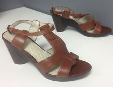 EASY SPIRIT Brown Leather T Strap Block Heel Ankle Buckle Sandal Sz 9.5 B4715