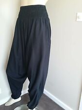 Aladdin Black Baggy Harem Pants Boho Yoga Jumpsuit One Size Maternity Jumpsuit