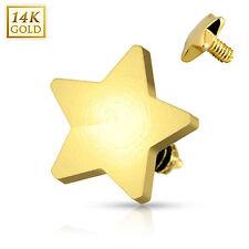 14 Karat Solid Yellow Gold 4mm Star Dermal Anchor Top Internally Threaded