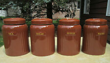 Hall China  BROWN (4) pc.CANISTER SET...NO CHIPS OR CRACKS, EXTREMELY NICE!
