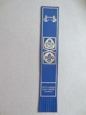 BOOKMARK LEATHER Girl Guide Scout Emblem South London Scout Centre Dulwich Blue
