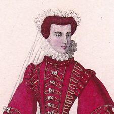 Portrait Couleur XIXe Élisabeth de France Isabel de Valois Reine d'Espagne