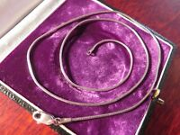 Schöne 925 Silber Kette Schlangenkette Zopfkette Elegant Defekt Vintage Top