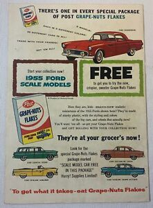 1955 Post Grape Nuts Flakes ad page ~ FORD THUNDERBIRD and other toy cars