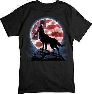 American Flag Shirt - Wolf Shirt - Patriotic T Shirt - Small - 5X