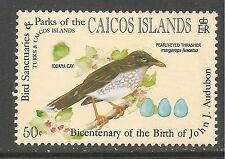 Caicos #62 (C7) VF MINT NH - 1985 50c Pearly-Eyed Thrasher Bird - Audubon