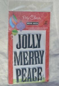JOLLY MERRY PEACE Clear Acrylic Hero Arts Stamps CL620 Holiday new in package