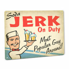 Soda JERK On Duty SIGN Male Vintage Retro 50s Diner Fountain Cola Dispenser Art