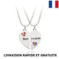 Collier Pendentif Coeur Strass Best Friends Cadeaux Anniversaire Bijoux Enfant