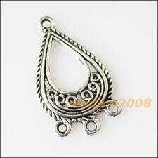25Pcs Tibetan Silver Tone Slender Cone Charms Connectors 6.5x26mm