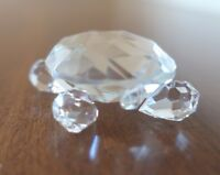 """Lead Crystal Turtle with Green Blue Eyes 2.5"""" Long"""