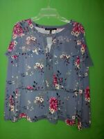 1536) WHITE HOUSE BLACK MARKET small poly knit blue gray floral top blouse S