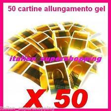 50 CARTINE ALLUNGAMENTO DORATE NAIL RICOSTRUZIONE UNGHIE UV GEL SMALTO ART KIT