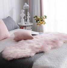 Carvapet Luxury Soft Faux Sheepskin Couch Seat Cushion 2x6 ft Sheepskin Pink NEW