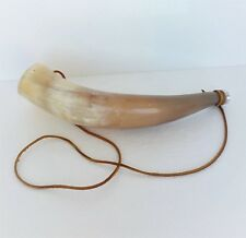 Vintage Hunting Cow Horn Bugle Trumpet Leather Cord Strap Mouthpiece
