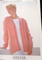 "Sirdar Ladies Knitting Pattern Long  Sleeved Cardigan DK Size 32/54"". 5558"