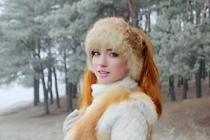 Real Fox Fur Headband Winter Headbands for Women Head Wraps Ear Warmer (Red)