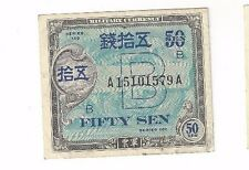 1945 Japanese Philippine Island Allied Military Govt Military Currency Fifty Sen