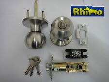 RHINO ingresso manopola LOCK SET CON SERRATURA-Satin Chrome-NUOVO