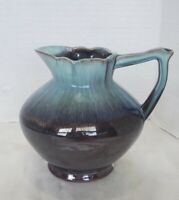 Nihon Brown Glazed Small Green Drip Pitcher Vintage Ceramic Made In Japan