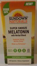 Sundown Super Snooze Melatonin Capsules, Supports Sound, Herbal Blend 90 Count