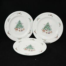 "MING PAO WOODLAND CHRISTMAS DINNER 10.5"" PLATES SET OF 3"