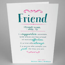 BIRTHDAY GREETINGS CARD -  Meaning of Friend - Blue Foil - AH5024