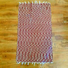 """Vintage Rag Rug Hand Made Deep Red White Cotton Woven Knotted 40"""" X 23"""""""