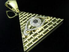 "10K Yellow Gold All Seeing Eye Genuine Diamond Pendant Charm .65 Ct 1.75"""