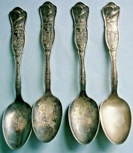 (4) State of New York Souvenir Spoons from the Early 1900's + other spoons