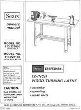 "Original Owners Manual Sears Craftsman 12"" Wood Lathe .pdf format"