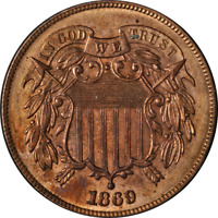 1869 Two (2) Cent Piece Choice BU Details Nice Eye Appeal Strong Strike