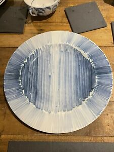 Deborah Sears Isis Ceramics large Blue & White hand painted tester Delft Plate