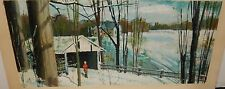 SNOW FARM LANDSCAPE COVERED BRIDGE OIL ON BOARD PAINTING UNSIGNED