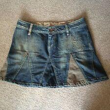 Denim mini Skirt Size 10 A Line Floral Boho Festival