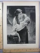 Rare Antique Original VTG 1888 Bouguereau Good Night Baby Photogravure Art Print