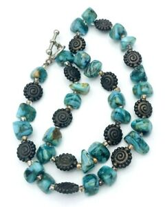 """Beaded Abalone Nugget Silver Tone Beaded Choker Necklace 16"""""""