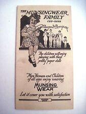 "Vintage ""The Munsingwaer Family"" Ad Pamphlet w/ Unused Paper Dolls *"