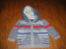 BENETTON BABY 62 3-6 STRIPED HOODIE SWEATER